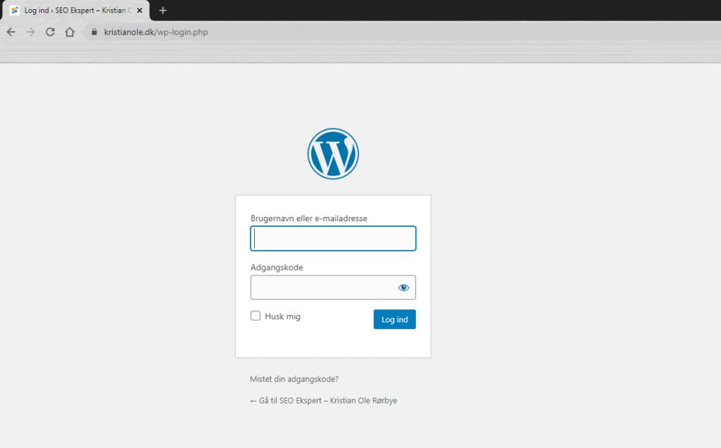 #4: Sådan logger du ind på WordPress hjemmeside