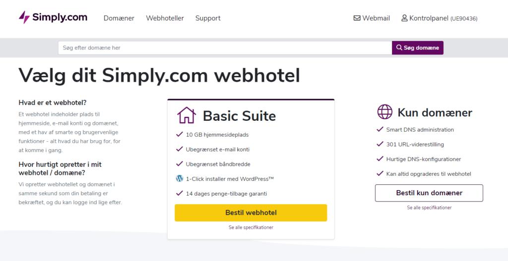 Vælg domæne hos Simply til din WordPress hjemmeside